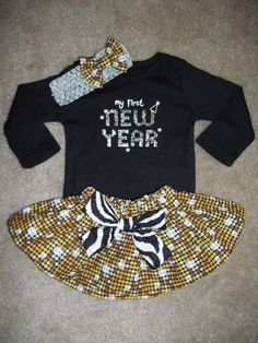 New Years Christmas Day Skirt outfit Dress up baby girl by MM4CC, $29.50.... LOVE!!!