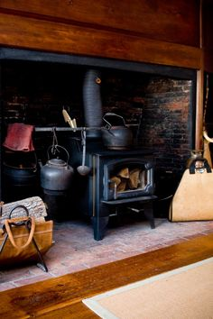 A neat way to have a wood burning stove.