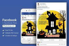 Get your Halloween party started with this spooky Facebook post design. Great for virtual Halloween party ides. $3 #sponsored #ad Facebook News, Halloween Illustration, Website Themes, Journal Cards, Design Bundles, School Design, Business Flyer, Free Design, Halloween Party