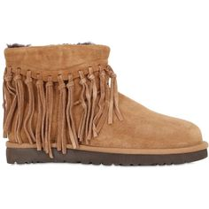 Ugg Australia Women Winona Fringed Shearling Ankle Boots ($165) ❤ liked on Polyvore featuring shoes, boots, ankle booties, chestnut, shearling-lined boots, bootie boots, ankle boots, fringe boots and short boots