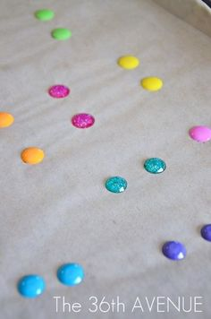 make your own enameled dots with pony beads!