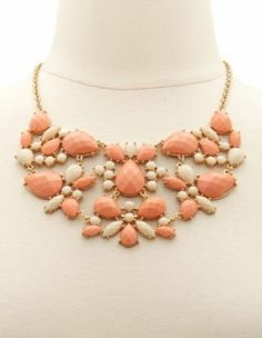 color block stone statement necklace