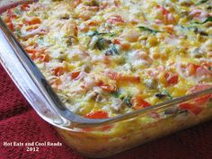 This breakfast casserole is great for Sunday morning breakfast or brunch! Tons of flavor and simple to make! Spinach, Sausage and Tomato Egg Bake from Hot Eats and Cool Reads