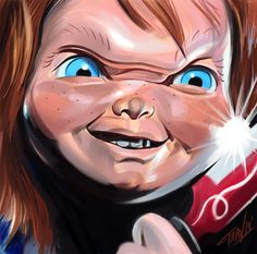 """Day 8 of my """"31 Days of Halloween"""" Sketch Project: More Chuck For the Buck—CHUCKY! Don't forget to tune in here every night for the month of October for a new sketch of some of my favorite horror movie icons and imagery (and some fan..."""