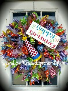 Happy Birthday wreath full of chevron and polka dot ribbon on a burlap wreath. Accented with a red glitter polka dot party hat and a white Birthday Wreaths, Birthday Crafts, Birthday Decorations, 90th Birthday, Birthday Ideas, Summer Door Wreaths, Mesh Wreaths, Holiday Wreaths, Burlap Wreaths
