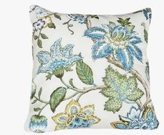 Blue Floral Accent Pillows, Decorative Cushion Cover, Jacobean Flowers in Blue Green Yellow on Cream White, Country Cottage Chic Decor 18x18. $33.00, via Etsy.