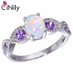 [} การเปรยบเทยบราคาของ CiNily Created White Fire Opal Purple Zircon Silver Color Wholesale Hot Sell Wedding for Women Jewelry Ring Size 5-12 OJ8044