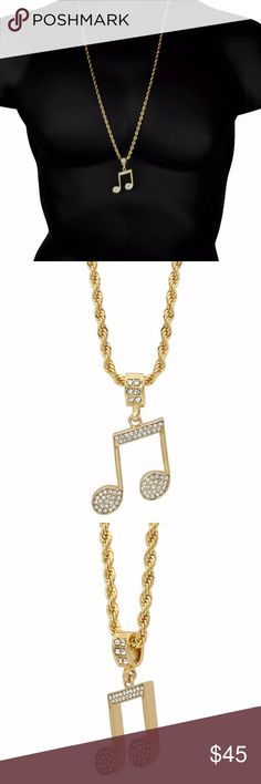 "Men's 14K Music Note Gold Pendant Rope Chain New CHAIN: 30"" LENGTH CHAIN WIDTH:4mm  PENDANT HEIGHT: 1-3/4"" Inch PENDANT WIDTH: 1-3/8"" Inch  METAL PLATING: 14k Gold  This listing is for a very nice and fashionable Pendant  Comes with a free 30"" Inch 4mm Rope chain  CHECK OUT MY OTHER LISTINGS. MAKE a bundle for a discount! Accessories Jewelry"