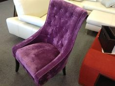Purple Velvet Chair - Purple velvet parsons chair with tufted back. Very rich looking.  Price $190.00    - http://takeitorleaveit.co/2013/09/14/purple-velvet-chair/