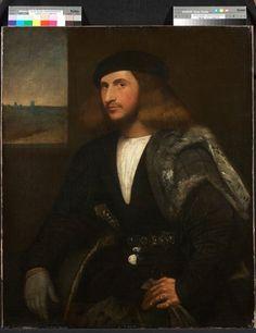 Cariani, Giovanni de Busi   Portrait of a Venetian nobleman   High quality art prints, canvases, postcards   Chatsworth Print on Demand