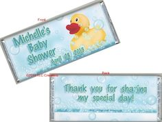 Rubber Duck Baby Shower Wrapped Candy Bars