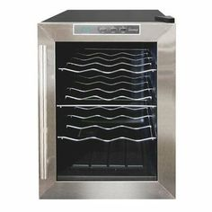 Vinotemp VT-12TEDS Thermo-Electric Digital 12-Bottle Wine Chiller, Black and Stainless by Vinotemp. $199.00. Vinotemp VT-12TEDS Thermo Electric Digital Black w/Stainless Steel trim (12) Bottle wine cooler.   With the innovative thermo-electric cooling system, which involves very few moving parts, your wine will be protected from unneccessary vibration.  More importantly, Thermo-electric cooling does not use ozone depleating chemicals such as CFC's or HCFC's so you w...