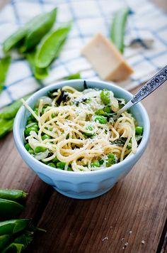 fresh peas and mint spaghetti