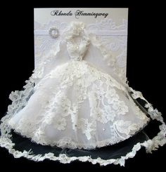 ♥This extravagant & elegant custom order is for the beautiful Rebecca, a duplication of her lovely gown worn on her wedding day. The gorgeous gown is designed by Rhonda Hemmingway♥ Materials: Handmade Greetings, Greeting Cards Handmade, Wedding Cards Handmade, Dress Card, Wedding Anniversary Cards, Bridal Wedding Dresses, Bridal Shoot, Diy Cards, Cardmaking