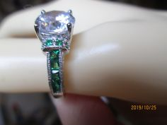 Vintage Art Deco 3.00ctw Natural Emerald & White Topaz 925 Solid Sterling Silver Ring Sz 6, Weight 4.4Grams by TamisVintageShop on Etsy