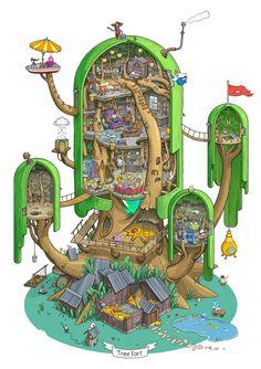 Exploring the Land of Ooo. Inside the Tree Fort., Max Degtyarev on ArtStation at https://www.artstation.com/artwork/v3NYx