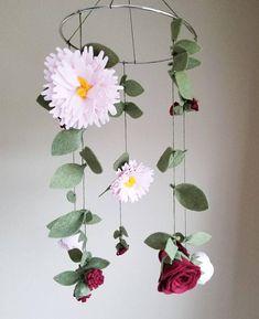 Gold Nursery Decor, Chic Nursery, Floral Nursery, Blush Peonies, Peony, Flower Mobile, Felt Flowers, Pink And Gold, Cribs
