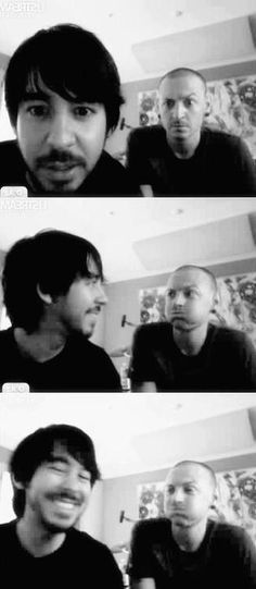 Linkin Park Mike Shinoda & Chester Bennington. I don't want to admit but this pict turns my 'fujoshi-soul' on