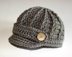Grey Gray Newsboy Visor Hat Crocheted Newborn by theprimitivefence, $18.00