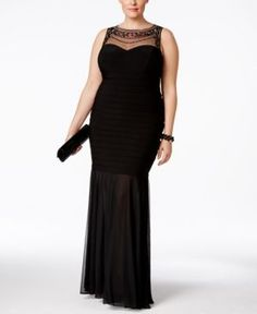 Xscape Plus Size Beaded Illusion Mermaid Gown - Black 14W