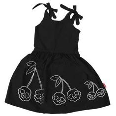 """Smile-worthy Goth deconstruction of the annoyingly ubiquitous """"retro cherries! Girls Black Dress, Girls Dresses, Black Girls, Toddler Outfits, Kids Outfits, Cute Outfits, Baby Outfits, Rockabilly Baby, Rockabilly Style"""
