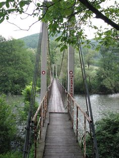 Suspension bridge in the Western Morava, Serbia