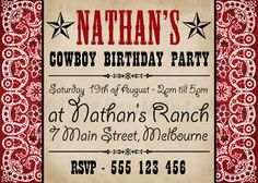 "Cowboy Party Invitation    Mother Duck Said: ""Lets Party!"": Cowboy Party Printables"