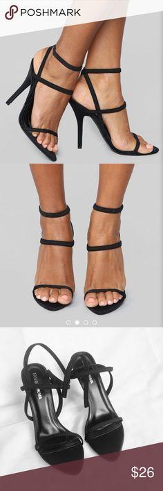9351803ab Fashion Nova Strappy Heels NWB Fashion Nova strappy heels! Never worn. Black  with elastic