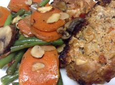 #Paleo mushroom meatloaf with a medley of garlic carrot, green bean, mushroom and sliced almonds. #healthy #recipe