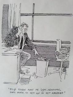 Blijf even aan de lijn, Herman, dan zoek ik het op in het archief Political Cartoons, Funny Cartoons, Nalini Malani, Henri Matisse, Just Smile, Vincent Van Gogh, Satire, Comic Strips, Funny Pictures