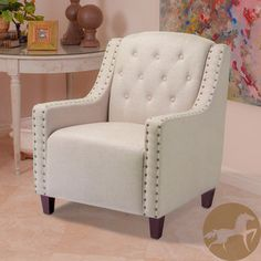 @Overstock - Christopher Knight Home Gabriel Tufted Dark Beige Fabric Club Chair. This dark beige fabric club chair features softly padded cushioning in its arms, seat, and back. The large studs and tufts provide eye-catching modern accenting. Its neutral beige color helps it blend in with any room's other furniture. http://www.overstock.com/Home-Garden/Christopher-Knight-Home-Gabriel-Tufted-Dark-Beige-Fabric-Club-Chair/6743484/product.html?CID=214117 $322.99