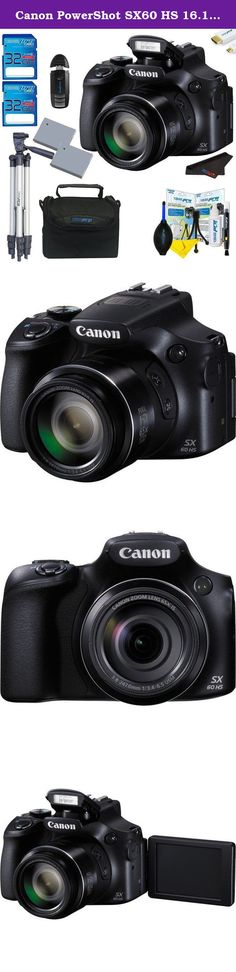 Canon PowerShot SX60 HS 16.1MP Digital Camera + Pixi-Advanced Accessory Bundle w/ Tripod and Camera Case. Featuring a far-reaching 65x optical zoom lens, equivalent to 21-1,365mm in the 35mm format, the PowerShot SX60 HS Digital Camera from Canon will provide users with a compact, yet extremely versatile unit for capturing highly detailed images. Additionally, this camera is capable of Full HD 1080p video recording at 60 fps and has an external microphone input for higher quality audio…