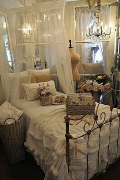 Beautiful shabby chic bed - in Laurie Anna's - via Vickie Cunningham Photography