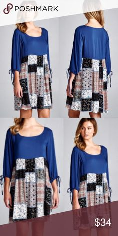 ❣NEW IN❣ Blue Patchwork Tie Sleeve Tunic Dress Brand new! Adorable tunic dress with patchwork print bottom. Sizes S (2-4), M (6-8), L (10-12). Dresses Mini