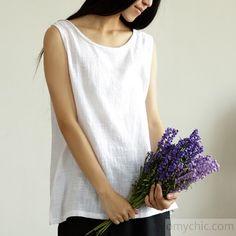 2016 white summer linen tank top women breathy linen shirt blouse - 2016-4-7 - New In