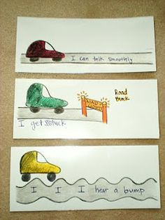 Bumpy, road block and smooth talking visuals for working with young children who stutter, by Annie at The Learning Curve: Young Stuttering Therapy Fluency Activities, Speech Therapy Activities, Language Activities, Reading Activities, Speech Language Therapy, Speech Language Pathology, Speech And Language, Therapy Ideas, Therapy Tools