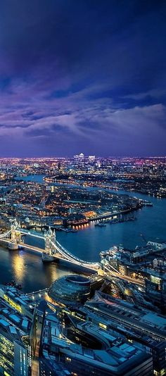 Night view of Thames River, London