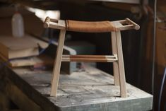 Stool Kiva - small but strong like a horse. Oak and deerskin. Design by Bucks and Spurs Stockholm