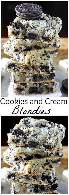 Cookies and Cream Blondies Ultimate Cookies and Cream Blondies are so quick, easy, and absolutely delicious! Everyone loves these!Ultimate Cookies and Cream Blondies are so quick, easy, and absolutely delicious! Everyone loves these! Dessert Oreo, Dessert Bars, Oreo Desserts, Baking Recipes, Cookie Recipes, Dessert Recipes, Delicious Desserts, Yummy Food, Awesome Desserts