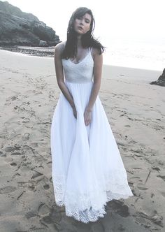 Silk Chiffon and Stretch Lace Beach Wedding by WearYourLoveXO