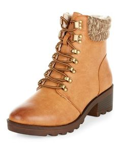 Tan Knit Cuff Lace Up Boots  | New Look
