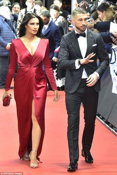 The lady in red:Pilar Rubio had all eyes on her as she smouldered in a floor length scarlet gown