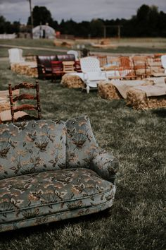 Rent or buy a bunch of mismatched couches?- Boho Meets Country Wedding: Kendra Wallace in Real Weddings.