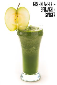 "Easy Being Green. Serves Place 1 green apple (with skin, cored & cut into chunks), ½ cup frozen spinach, ½"" piece peeled, fresh ginger & ½ cup water into a blender. Blend until smooth. Extras: Blend in ½ of an avocado or fresh lime juice. Smoothie Vert, Smoothie Detox, Juice Smoothie, Smoothie Drinks, Detox Drinks, Smoothie Recipes, Ginger Smoothie, Healthy Juices, Healthy Smoothies"
