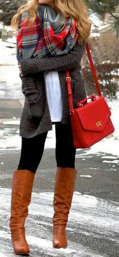 Long cardigan + scarf +white shirt + pants +boots