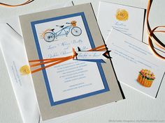 Painted Tandem Bicycle, Bike Built For Two Wedding Invitations | My Personal Artist
