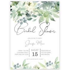 Succulent Bridal Shower Invitation | Forever Your Prints