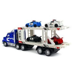 City Police Transporter Trailer 1:32 Children's Kid's Friction Toy Truck Ready To Run w/ 4 Toy Cars, No Batteries Required (Colors May Vary) - Walmart.com