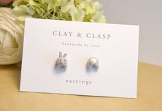 Grey bunny rabbit mismatch head and tail earrings - beautiful handmade polymer clay jewellery by Clay & Clasp