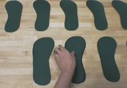 Making insoles:  Trace and cut out four more for both the right and left.